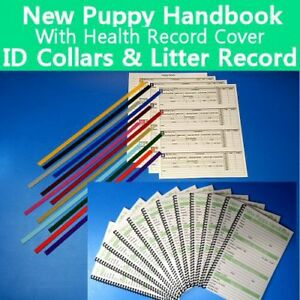 New Puppy Handbook w/ Vaccine Health Record Cover - ID Collars - Litter Record