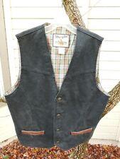 Wrangler Outerwear Black Denim Vest With Leather Trim Pockets. Size M