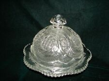 Antique Early American Pattern Glass Butter Dish With Lid - EAPG Glass