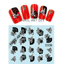 20 nail art stickers-decals water transfer-tattoo adesivi FIORI neri e bianchi !