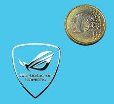 REPUBLIC OF GAMERS METALISSED CHROME EFFECT STICKER LOGO AUFKLEBER 27x30mm [612]