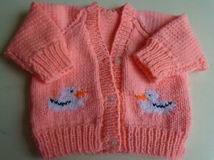 """New Hand Knitted Baby Ducks Cardigan 18/20"""" chest (aprox 6-12 months)"""