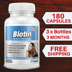 Biotin 180 Capsules 10,000mcg - Maximum Strength - Hair Skin Nails QTY DISC BUY