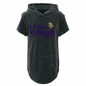 Outerstuff NFL Youth Girls Minnesota Vikings Short Sleeve Velvet Hooded Top