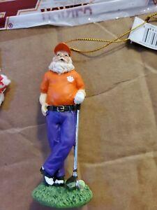 CLEMSON GOLFING SANTA  Ornament-Go Clemson