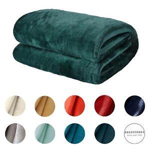 Brentfords Large Flannel Fleece Bed Blanket Warm Throw Over Ultra Soft Bed Sofa