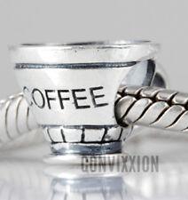 Sterling Silver Coffee Cup Morning Joe Monday's Suck European Charm vix4pandora