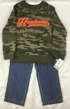 Carter's Boys 2-Piece Set Camo Print Sweatshirt Shirt Blue Jeans Denim Pants 2T