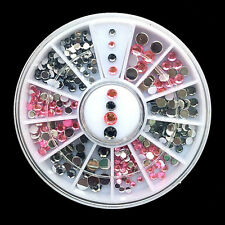New 3D Nail Art Tips gems Crystal Glitter Rhinestone DIY Decoration + Wheel JR