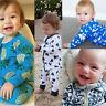 Newborn Baby Kids Boy Girl Zipper Romper Jumpsuit Bodysuit Cotton Clothes Outfit