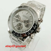 PARNIS 39mm gray dial sapphire glass solid full Chronograph quartz mens watch