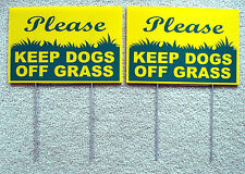"2 PLEASE KEEP DOGS OFF GRASS  8""X12"" Plastic Coroplast Signs with Stake  NEW"