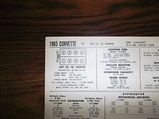 1965 Chevrolet Corvette EIGHT 327 CI V8 Holley Carb & Special Cam Tune Up Chart