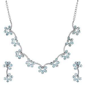 925 Sterling Silver Oval Cut Blue Topaz Gemstone Earrings & Necklace Set