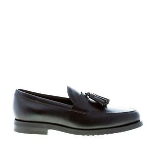 TOD'S men shoes Black elegant smooth leather loafer with penny bar and tassels