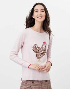 Joules Womens Miranda Knitted Intarsia Crew Neck Jumper - Pink Chicken - 16