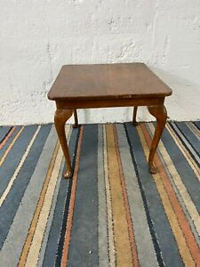 Vintage Walnut Veneer Square Coffee Table with Queen Anne Legs