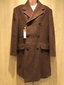 BNWT Omobono Cashmere & Wool Brown Coat Jacket Size EU46 (UK 18) Double Breasted