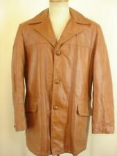 Mens M 40L Vtg 1970's Brown Leather Jacket Blazer Pimp Removable Faux Fur Liner