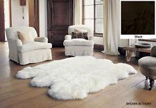 Bowron Genuine Natural Sheepskin Rug Sexto - 6 Pelt Rug 6' x 6' - BLACK