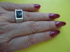 Men's Ladies Ring With Onyx Color Gemstone Silver Plate Size - 8.0   #R15.