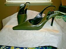 "St John Made in Italy Dark Green Leather 3"" Heel Slingback Pumps Sz 7.5B"