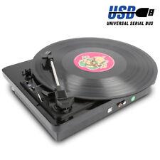 LP Vinyl Record Player Turntable Deck Black Gloss 3 Speed USB *FREE PC Software