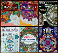 Adult Coloring Books, Mandalas, Stained Glass, Mandala, Impressions. Lot of 6,