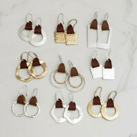 Vegan Leather Accent Statement Earrings with Geometric Metal for Women Jewelry