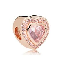 S925 Silver Charm 14K Rose Gold PL Sparkling Love Heart by Pandora's Angels