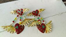 """RARE 1986 VINTAGE LUNCH AT THE RITZ PROTOTYPE """"FLYING HEARTS"""" RED CREAM EARRINGS"""