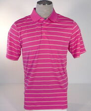 Adidas Golf PureMotion Pink & White Stripe Short Sleeve Polo Shirt Mens Size Med