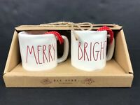 Rae Dunn by Magenta Merry & Bright Red LL Christmas Mini Mugs Set of 2 Ornaments