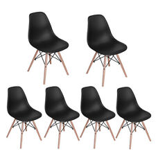 Black Set of 6 Mid Century Modern Style Dining Chair Kitchen Chairs