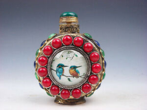 Vintage Tibetan Gold Gilt Copper Metal Snuff Bottle Lovely Birds #12052007