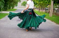Danza del vientre tribal estampado a lunares de bloque de falda verde/negro 25 yardas