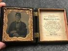 US Civil War Ambrotype 1/6 Plate Photo of Union Soldier in Gutta Percha Case