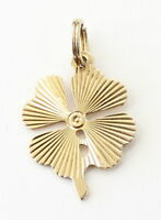 14k Yellow Gold Four Leaf Clover Charm Necklace Pendant ~1.4g