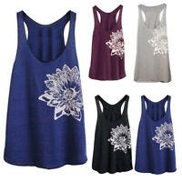 Women Sleeveless Flower Print Shirt Casual Loose Tank Top Soft Comfortable Vest