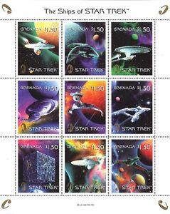 Star Trek Ships - Sheet of 9 Stamps w/ Gold Embossed Star Trek Logo, Grenada
