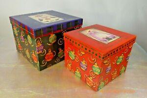 BARRINGTON STUDIOS Christmas NESTING BOXES 2PC Set Vtg 2001 UNUSED NOS