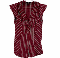 Cue Womens Maroon/White Striped Button Up Linen Blend Blouse Size 6
