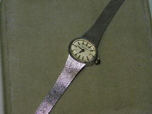 """Vintage 14k White gold MOVADO Ladies Wristwatch Wrist Watch 6.75"""" Mesh Bracelet"""
