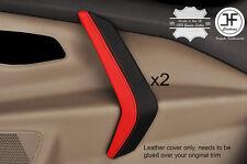 Negro y Rojo 2X Fundas de piel de Mango de puerta frontal se ajusta Ford Transit Custom MK8 2014+