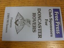 1989/1990 Doncaster: Official Fixtures Card.  Thanks for viewing our item, we tr