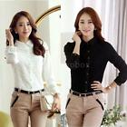 Womens Long Sleeves OL Shirt Floral Lace Turn Down Collar Button Blouse Slim Top