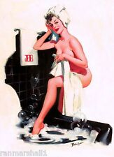 1940s Pin-Up Girl Bath Time - JEB Black Picture Poster Print Vintage Art Pin Up