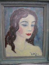 Portrait de femme huile sur panneau