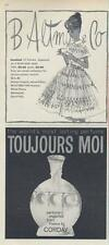 1962 B. Altman & Co PRINT AD Cute dress & Corday PRINT AD features Toujours Moi