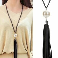Fashion Pearl Tassel Leather Pendant Necklace Sweater Long Chain Jewelry Gift